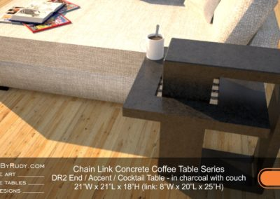 DR2 - Chain Link Contemporary Concrete Coffee Table Series - end table in charcoal with fainting couch