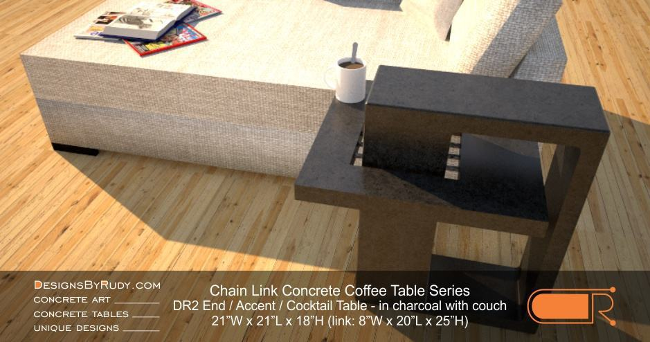 DR2   Chain Link Contemporary Concrete Coffee Table Series   End Table In  Charcoal With Fainting