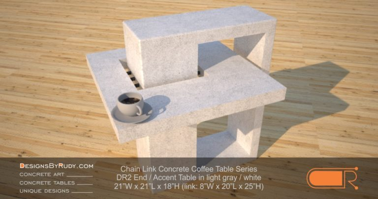 DR2 - Chain Link Contemporary Concrete Coffee Table Series - end table in light gray 2