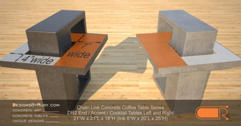 DR2 - Chain Link Contemporary Concrete Coffee Table Series - end table left and right