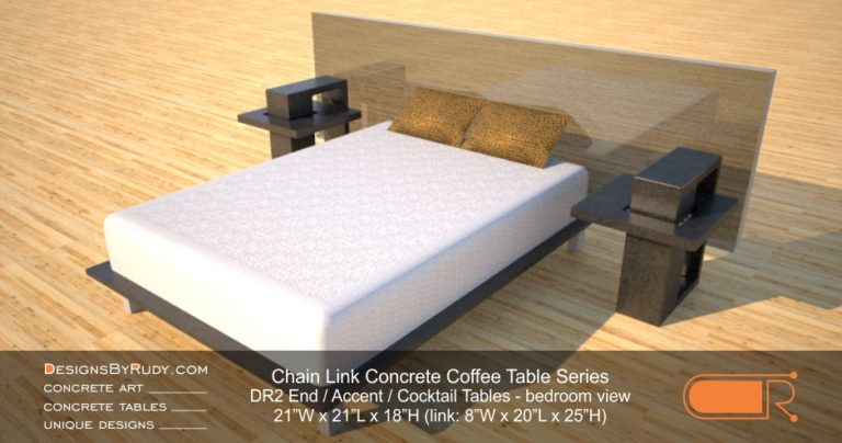 DR2 - Chain Link Contemporary Concrete Coffee Table Series - end tables left and right bedroom view