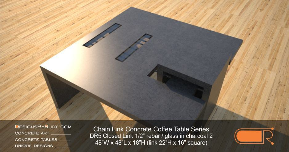 DR5 - Chain Link Contemporary Concrete Coffee Table Series - Square Closed Link Table with Glass in charcoal 2