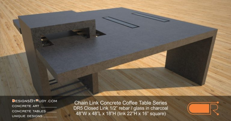 DR5 - Chain Link Contemporary Concrete Coffee Table Series - Square Closed Link Table with Glass in charcoal