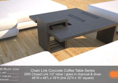 DR5 - Chain Link Contemporary Concrete Coffee Table Series - Square Closed Link Table with Glass in charcoal and divan