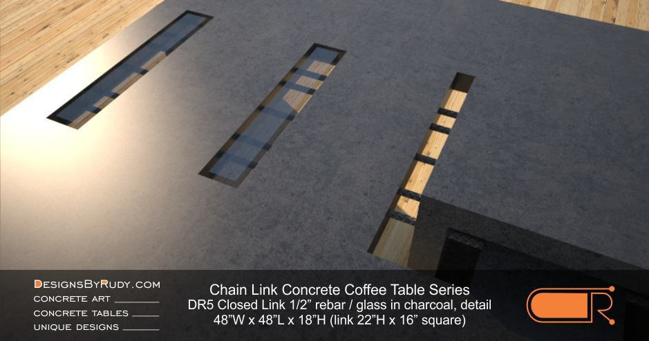 DR5 - Chain Link Contemporary Concrete Coffee Table Series - Square Closed Link Table with Glass in charcoal detail