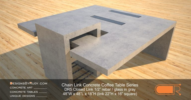 DR5 - Chain Link Contemporary Concrete Coffee Table Series - Square Closed Link Table with Glass in light gray 1
