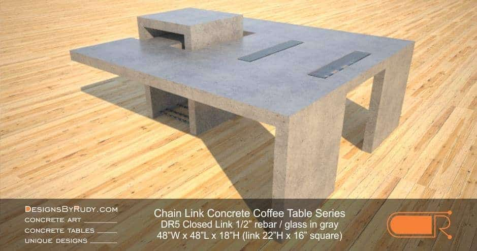 DR5 - Chain Link Contemporary Concrete Coffee Table Series - Square Closed Link Table with Glass in light gray 2