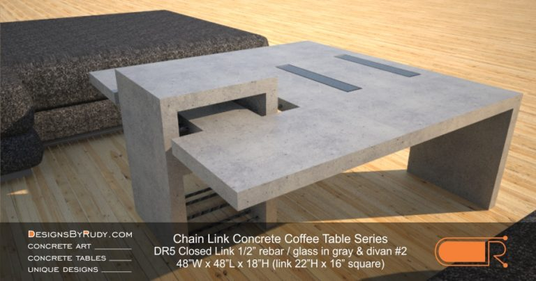DR5 - Chain Link Contemporary Concrete Coffee Table Series - Square Closed Link Table with Glass in light gray and divan #2