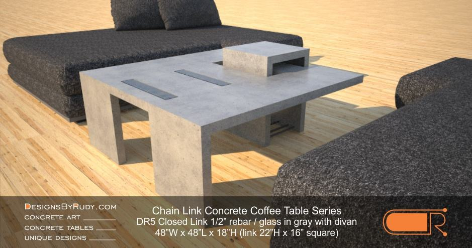 DR5 - Chain Link Contemporary Concrete Coffee Table Series - Square Closed Link Table with Glass in light gray and divan