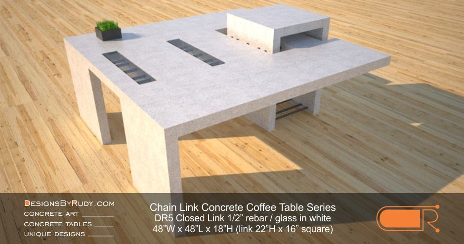 DR5 - Chain Link Contemporary Concrete Coffee Table Series by Designs by Rudy - Square Closed Link Table with Glass in white
