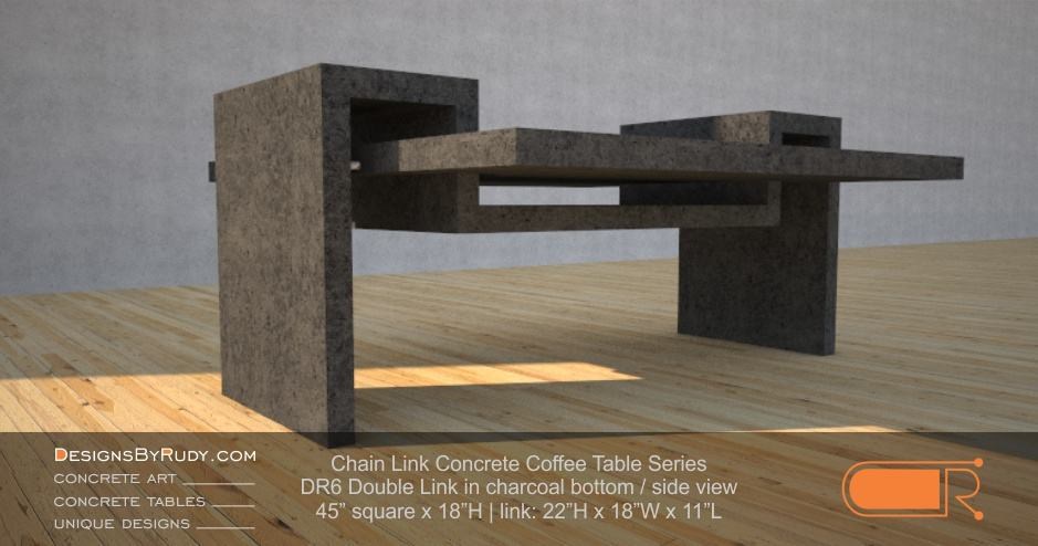 DR6 - Chain Link Contemporary Concrete Coffee Table Series - Double Link Table in charcoal bottom - side view