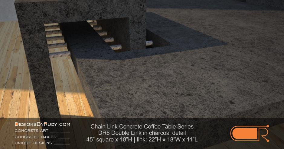DR6 - Chain Link Contemporary Concrete Coffee Table Series - Double Link Table in charcoal detail