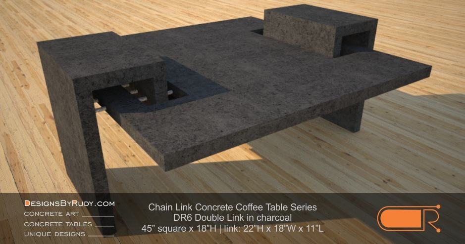 DR6 - Chain Link Contemporary Concrete Coffee Table Series - Double Link Table in charcoal