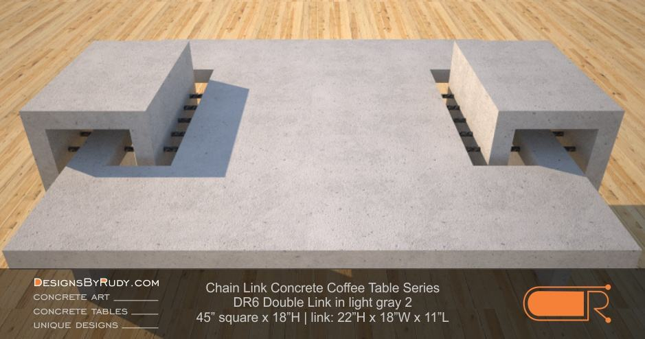 DR6 - Chain Link Contemporary Concrete Coffee Table Series - Double Link Table in light gray 2