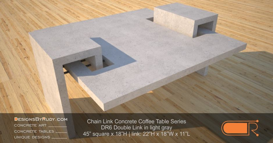 DR6 - Chain Link Contemporary Concrete Coffee Table Series - Double Link Table in light gray