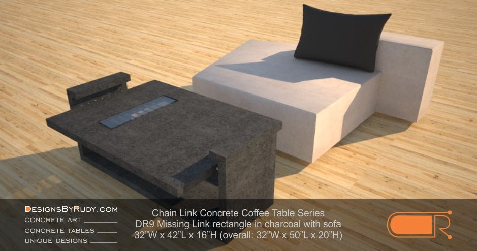 DR9 Chain Link Contemporary Concrete Coffee Table Series - Missing Link Rectangular with Glass in charcoal and sofa