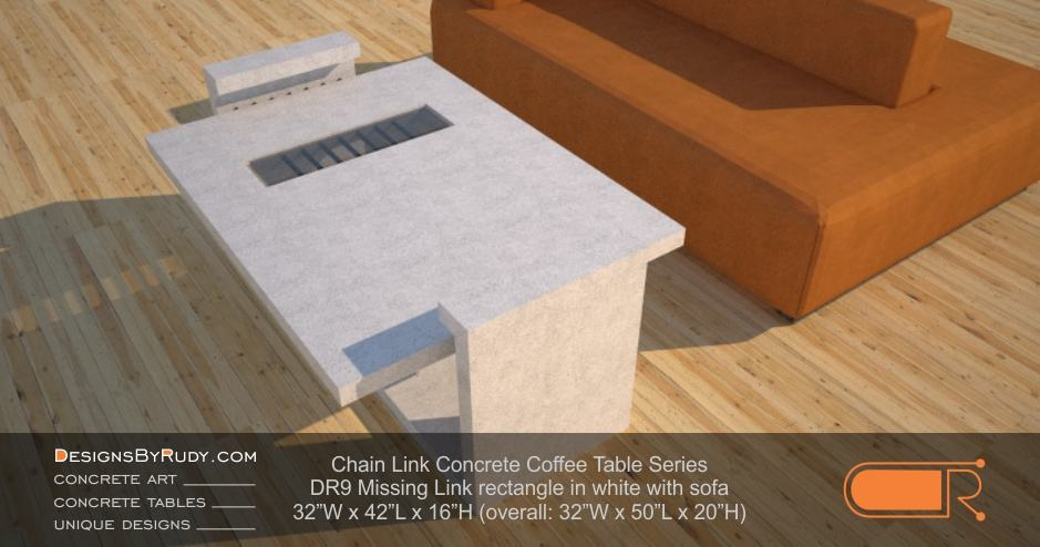 DR9 Chain Link Contemporary Concrete Coffee Table Series - Missing Link Rectangular with Glass in white with sofa