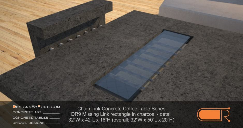 DR9 - Chain Link Contemporary Concrete Coffee Table Series - Missing Link with Glass in charcoal - detail