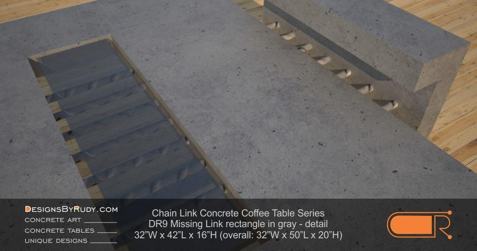 DR9 - Chain Link Contemporary Concrete Coffee Table Series - Missing Link with Glass in gray - detail