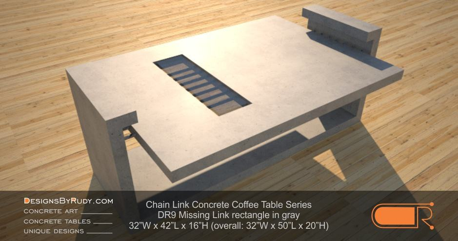 DR9 - Chain Link Contemporary Concrete Coffee Table Series - Missing Link with Glass in gray
