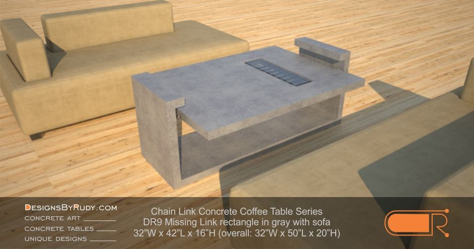 DR9 - Chain Link Contemporary Concrete Coffee Table Series - Missing Link with Glass in light gray and sofa