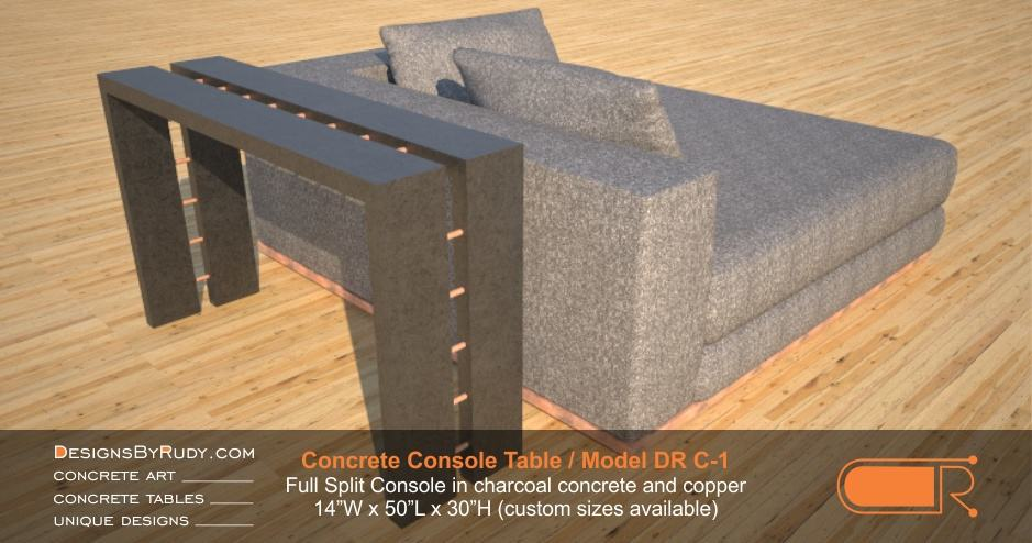 Concrete Console Table by Designs by Rudy, Model DR C-1, Full Split Console in charcoal concrete and copper tubing next to a launge chair