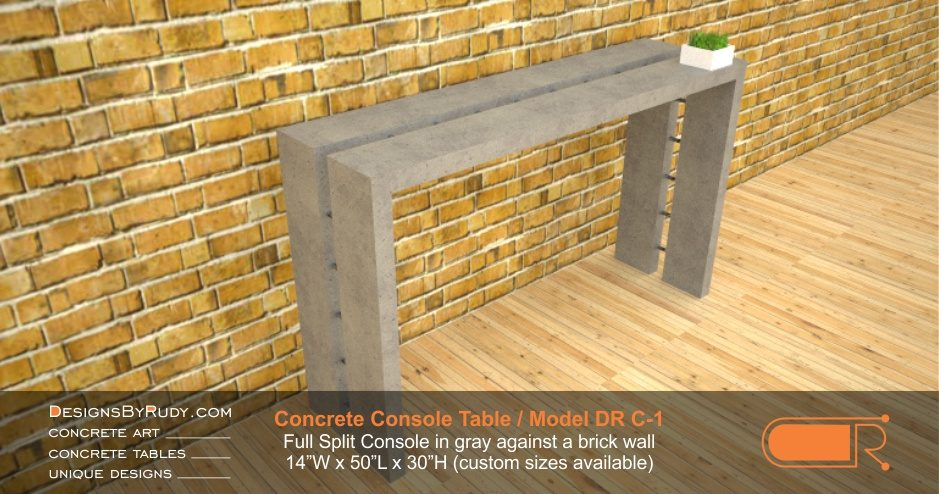 Concrete Console Table by Designs by Rudy, Model DR C-1, Full Split Console in gray against a brick wall