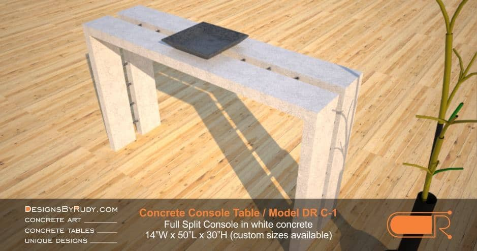 Concrete Console Table by Designs by Rudy, Model DR C-1, Full Split Console in whit