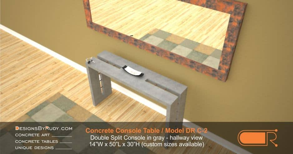 Gray Concrete Console Table by Designs by Rudy, Model DR C-2, Double Split Console in gray, hallway view with mirror and floor rug, second view