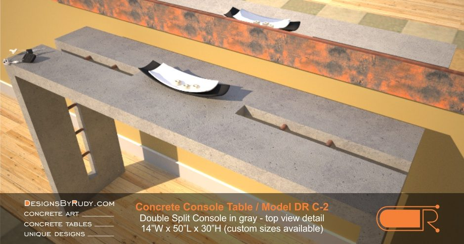 Concrete Console Table by Designs by Rudy, Model DR C-2, Double Split Console in gray, top view detail