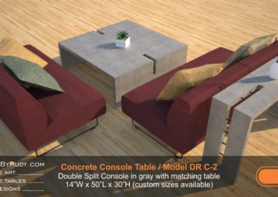 Model DR C-2, Double Split Console in gray with matching table