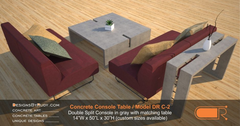 Concrete Console Table by Designs by Rudy, Model DR C-2, Double Split Console in gray with matching table