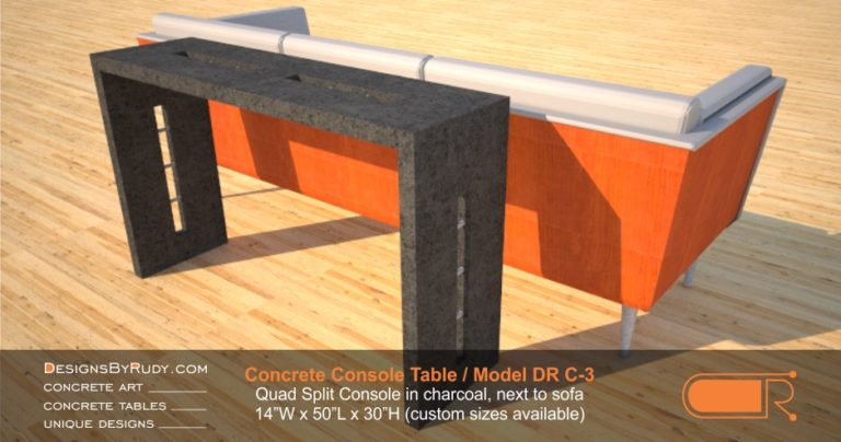 Charcoal cement console table by Designs by Rudy, Model DR C-3, Quad Split Console in charcoal, next to sofa