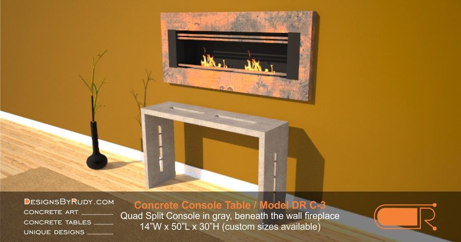 Concrete Console Table by Designs by Rudy, Model DR C-3, Quad Split Console in gray, beneath the wall fireplace