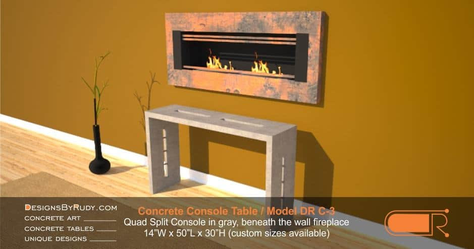 Gray concrete console table by Designs by Rudy, Model DR C-3, Quad Split, beneath the wall fireplace