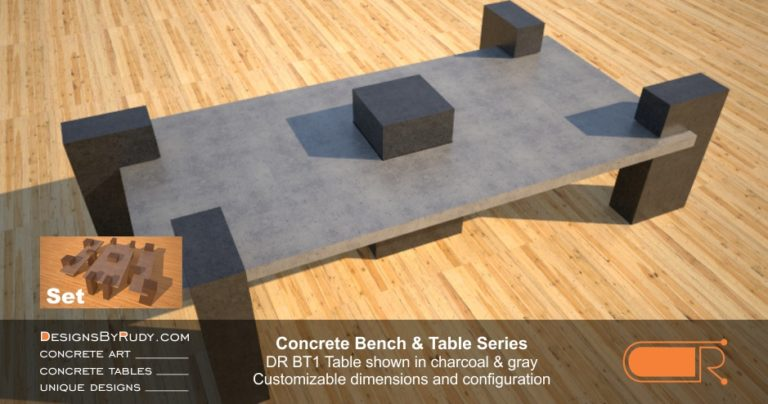 Concrete Patio Tables, Customizable dimensions and Configuration Concrete Table DR BT1 (alternate view) by DesignsbyRudy