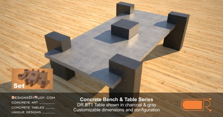 Concrete Patio Tables, Customizable dimensions and Configuration Concrete Table DR BT1 (top angle view) by DesignsbyRudy