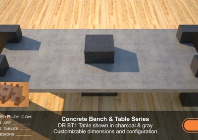 Concrete Patio Tables, Customizable dimensions and Configuration Concrete Table DR BT1 (top view) by DesignsbyRudy