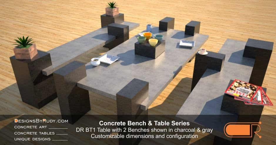Concrete Table and Benches, Customizable dimensions and Configuration Concrete Table with 2 Benches DR BT1 (low angle view 2) by DesignsbyRudy