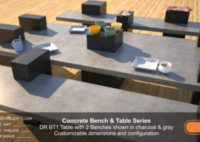 Concrete Table and Benches, Customizable dimensions and Configuration Concrete Table with 2 Benches DR BT1 (low angle view) by DesignsbyRudy