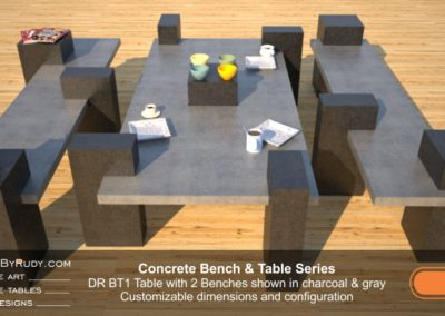 Concrete Table and Benches, Customizable dimensions and Configuration Concrete Table with 2 Benches DR BT1 (side view) by DesignsbyRudy