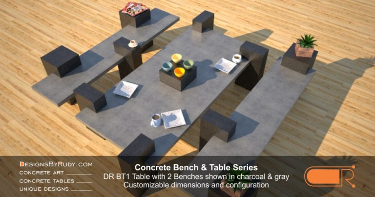 Concrete Table and Benches, Customizable dimensions and Configuration Concrete Table with 2 Benches DR BT1 (top view) by DesignsbyRudy