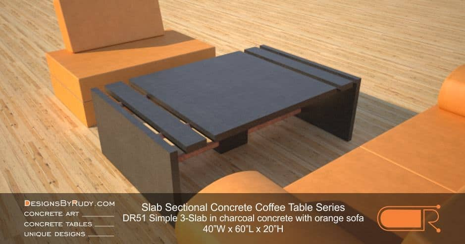 DR51 - Slab Sectional Concrete Coffee Table Series - Simple 3-Slab in gray concrete with orange sofa