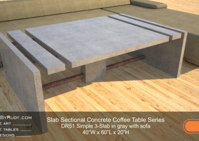 DR51 - Slab Sectional Concrete Coffee Table Series - Simple 3-Slab in gray concrete with sofa