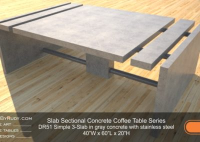DR51 - Slab Sectional Concrete Coffee Table Series - Simple 3-Slab in gray concrete with stainless steel