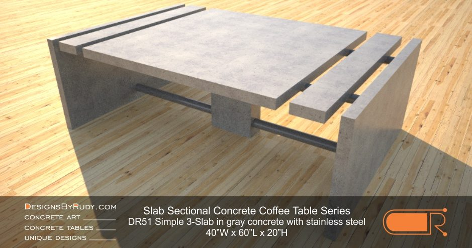 Concrete Coffee Table Sectional Series DR51 Simple 3 Slab