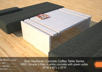 DR51 - Slab Sectional Concrete Coffee Table Series - Simple 3-Slab in white concrete with green sofas