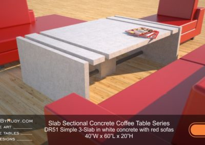 DR51 - Slab Sectional Concrete Coffee Table Series - Simple 3-Slab in white concrete with red sofas