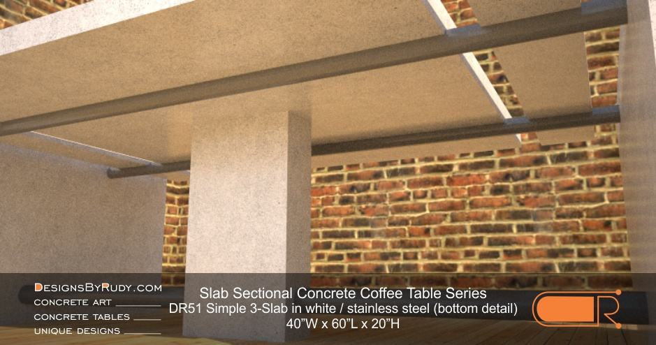 DR51 - Slab Sectional Concrete Coffee Table Series - Simple 3-Slab in white with stainless steel (bottom detail)