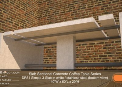 DR51 - Slab Sectional Concrete Coffee Table Series - Simple 3-Slab in white with stainless steel (bottom view)